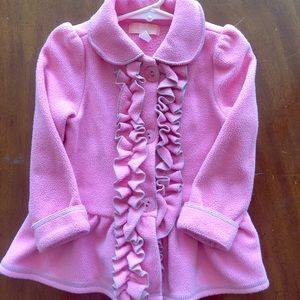 Pink ruffles fleece coat gray trim 24 m girls